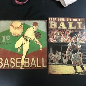 Other - 🔴3 for $10 3 baseball wall hangings.